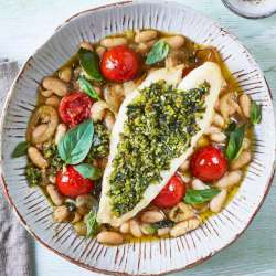Crispy-Pesto-Fish-With-Cannellini-Beans