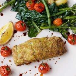 Crumbed-Pesto-Fish,-Roasted-Cherry-Vines,-Spuds-and-Greens