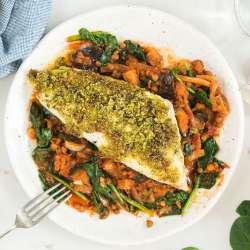 Pesto-crusted-cod,-aubergine-&-lentils