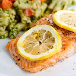 ROASTED-LEMON-SALMON-FILLETS-WITH-PESTO-PASTA