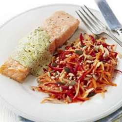 Roast-Salmon-With-Pesto-Sauce-&-Beetroot-Slaw