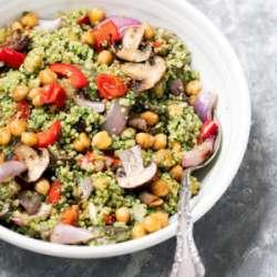 Roasted-Veggie,-Chickpea-&-Pesto-Quinoa-Salad