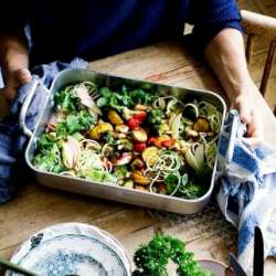Roasted-roots-&-halloumi-traybake-with-courgette-tangles