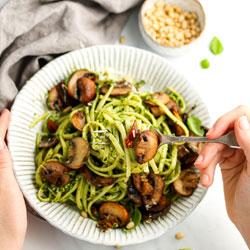 Mushroom-Pesto-Pasta