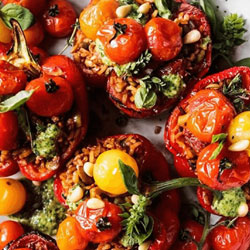 Pesto-and-Rice-Stuffed-Peppers