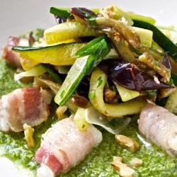 Monkfish-With-Pancetta,-Veggies-And-Basil-Pesto