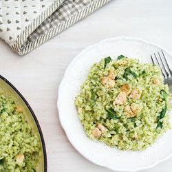 Pesto-Risotto-with-Salmon