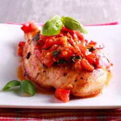 Pesto-Stuffed-Chicken-Breast-With-Bruschetta-Sauce