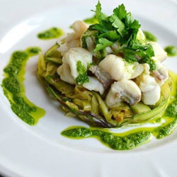 Monkfish-With-Shaved-Asparagus,-Leeks-and-Pesto